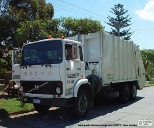 Puzle Caminhão de lixo branco