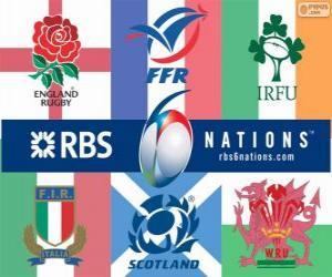 Puzle Campeonato Seis Nações de rugby com os participantes: França, Escócia, Inglaterra, país de Gales, Irlanda e Itália