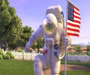 Puzle Capitão Charles Chuck Baker, martelando a bandeira americana a desembarcar no Planet 51