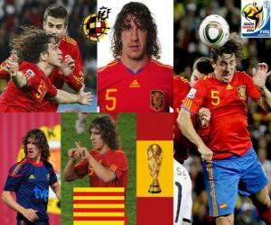 Puzle Carles Puyol (O chefe da Espanha), a defesa da equipe espanhola