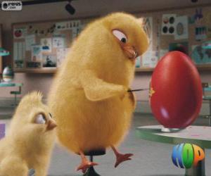 Puzle Carlos e Phil pintando um ovo