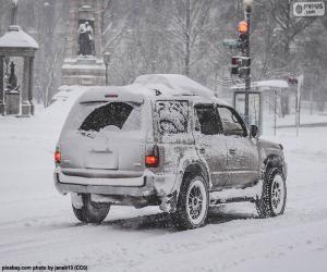 Puzle Carro a conduzir com neve