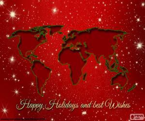 Puzle Cartão de Natal, mapa do mundo