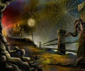 Puzle Casa assombrada com uma aranha em primeiro plano
