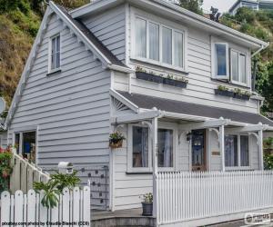 Puzle Casa blanca de madeira
