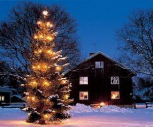 Puzle Casa com uma grande árvore de Natal decorada no jardim