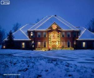 Puzle Casa decorada com enfeites de Natal