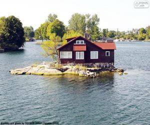 Puzle Casa em uma pequena ilha