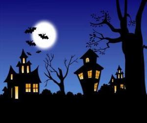 Puzle Casa encantada em Halloween - Lua cheia, morcegos