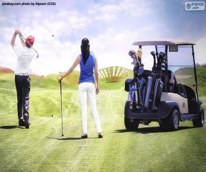 Puzle Casal jogando golfe