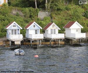 Puzle Casas no lago, Noruega