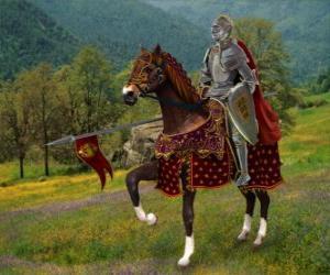 Puzle Cavaleiro com armadura e capacete e com a sua lança pronta montado em seu cavalo