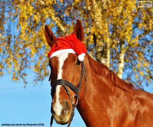 Puzle Cavalo com chapéu de Santa Claus