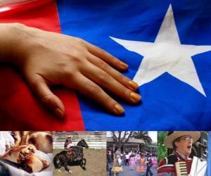 Puzle Celebrações patrióticas, no Chile. Décimo Oitavo lugar em 18 e 19 de setembro em comemoração ao Chile como um Estado independente