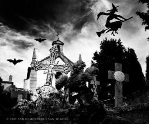 Puzle Cemitério no dia de Halloween