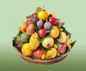 Puzle Cesta com frutas variadas