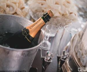 Puzle Champagne e taças