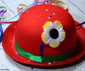 Puzle Chapéu vermelho com uma flor