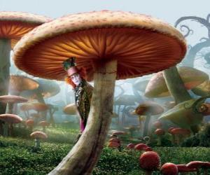 Puzle Chapeleiro Maluco (Johnny Depp), escondido debaixo de um cogumelo