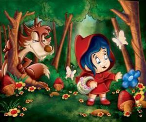Puzle Chapeuzinho Vermelho na floresta com o lobo escondido entre as árvores