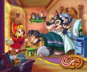 Puzle Chapeuzinho Vermelho ou Capuchinho Vermelho  chega na casa da avó
