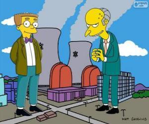 Puzle Charles Montgomery Burns e Waylon Smithers, proprietário da central nuclear de Springfield e o seu assistente