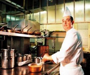Puzle Chef a preparar um prato