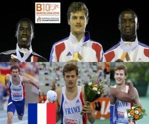 Puzle Christophe Lemaitre campeão dos 200 m, Christian Malcolm e Martial Mbandjock (2 e 3) do Campeonato Europeu de Atletismo de Barcelona 2010