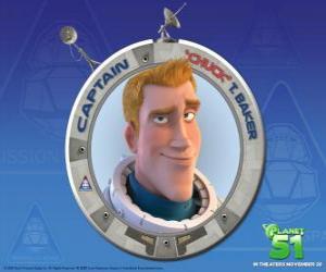Puzle Chuck criança sonhava em ser um astronauta, ele é corajoso, bonito e seguro de si