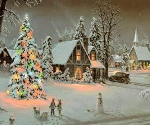Puzle Cidade completamente nevada durante os dias do Natal