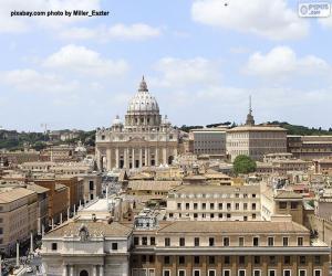 Puzle Cidade do Vaticano, cidade-estado dentro de Roma, Itália