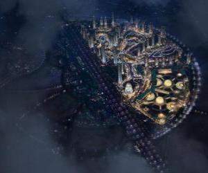 Puzle Cidade no espaço intergaláctico