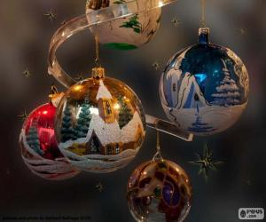 Puzle Cinco bolas de Natal