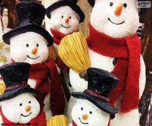 Puzle Cinco bonecos de neve