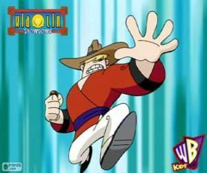 Puzle Clay Bailey, o Xiaolin do Dragão da Terra, um vaqueiro de Texas
