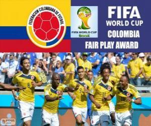 Puzle Colômbia, Prêmio Fair Play. Copa do mundo de futebol Brasil 2014