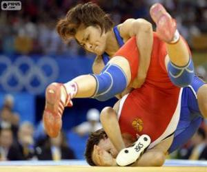 Puzle Combate de luta livre. Freestyle wrestling