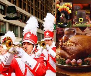 Puzle Comemoração do Dia de Ação de Graças com o tradicional peru e um chapéu típico dos Pilgrims. Nos EUA é realizada a quarta quinta-feira em novembro
