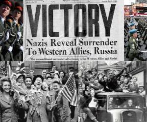 Puzle Comemorando a vitória dos Aliados sobre o nazismo eo fim da Segunda Guerra Mundial. Dia da Vitória, 08 de maio de 1945