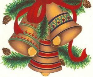Puzle Conjunto de três sinos adornadas com decorações de Natal