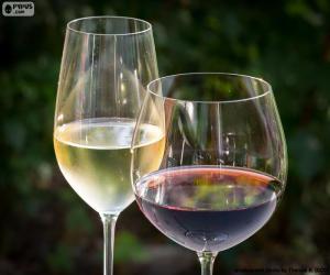 Puzle Copo de vinho branco e tinto