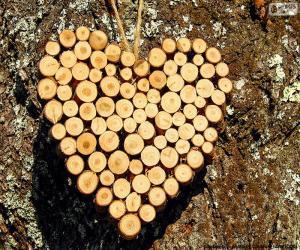 Puzle Coração de troncos