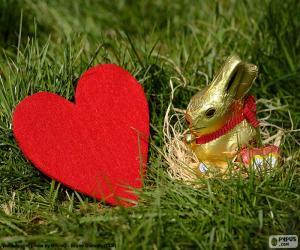 Puzle Coração e coelhinho da Páscoa