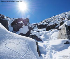 Puzle Coração na neve