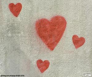 Puzle Corações vermelhos pintadas