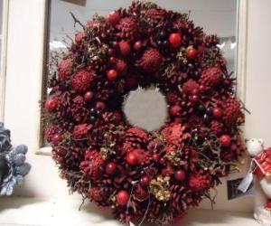 Puzle Coroa de Natal com frutas vermelhas