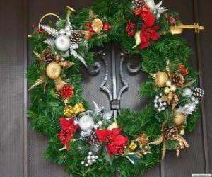 Puzle Coroa de Natal decorada