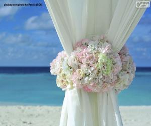 Puzle Cortinas de casamento de decoração floral