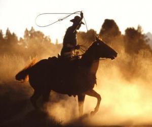 Puzle Cowboy ou vaqueiro que monta um cavalo com o lasso