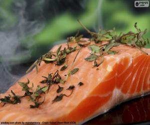 Puzle Cozinhar salmão